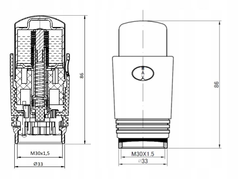GŁOWICA TERMOSTATYCZNA M30 x 1,5 CHROM GRZEJNIKA Waga produktu z opakowaniem jednostkowym 0.1 kg