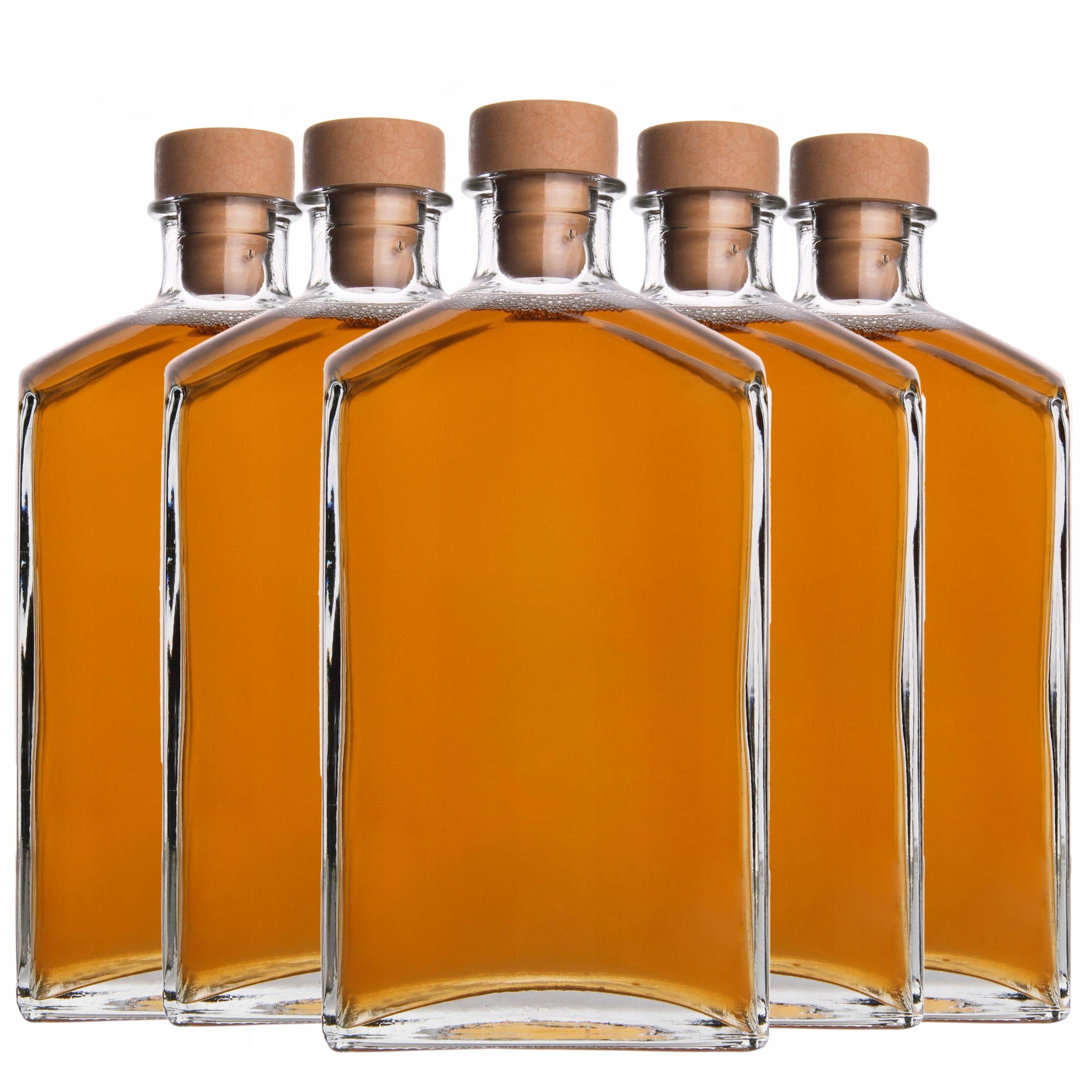 5 стеклянных бутылочек ELEGANT 500 мл для алкогольных соков
