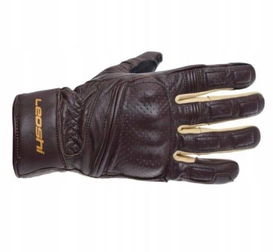 Prispôsobené hnedé hnedé motorkárske rukavice Bobber