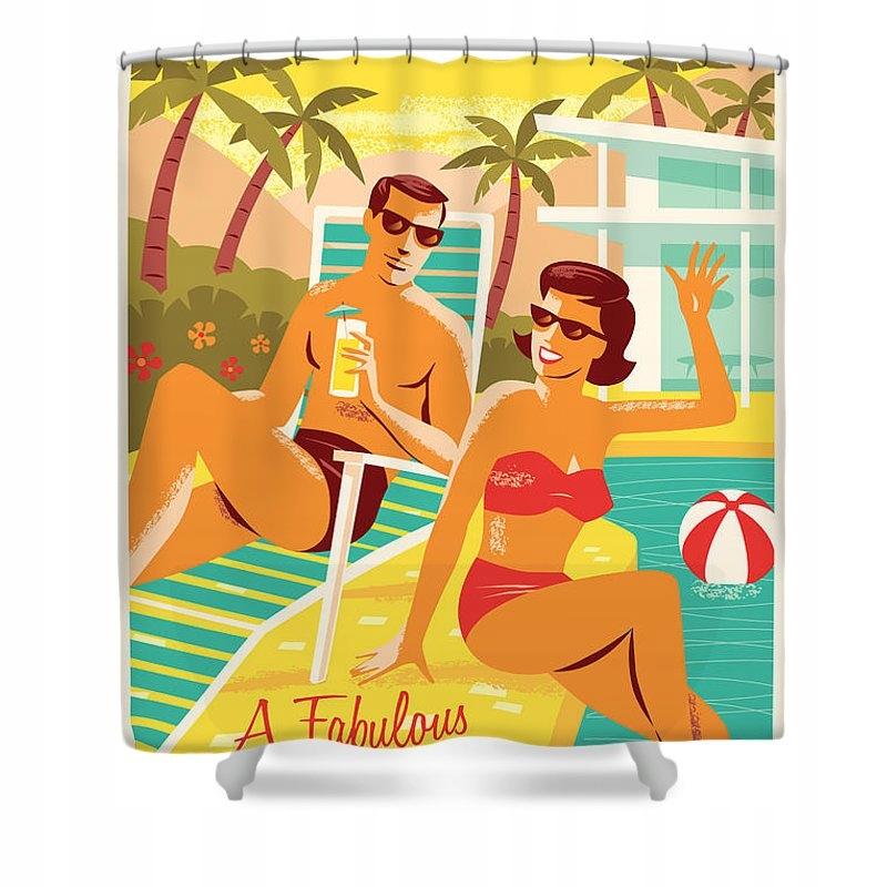 Plagát Palm Springs - Retro cestovný sprchový záves