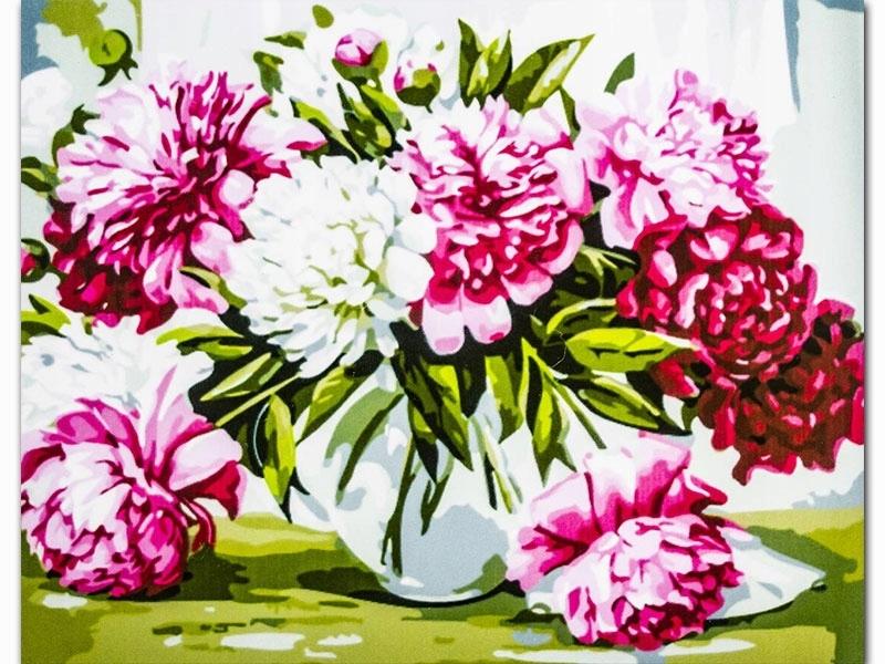 Картина по номерам Белые и розовые хризантемы S035