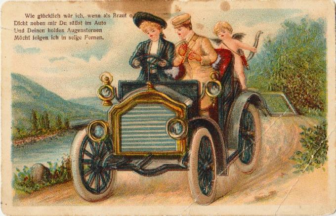 Bez názvu. Pár v aute a amor chromolitog