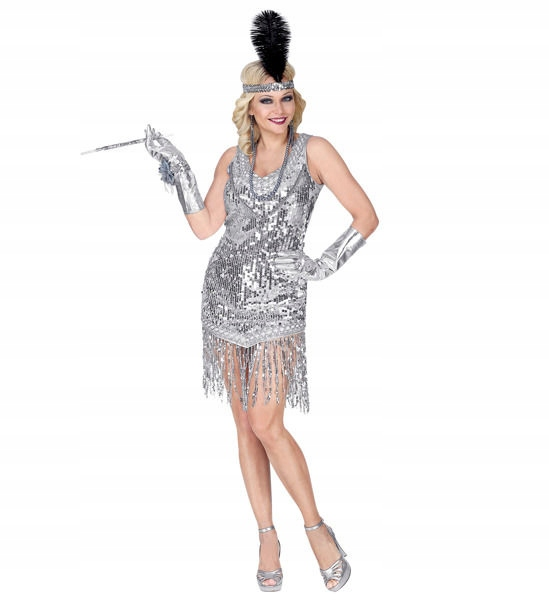 FLAPPER CHARLESTON SILVER SEQUINS RETRO S