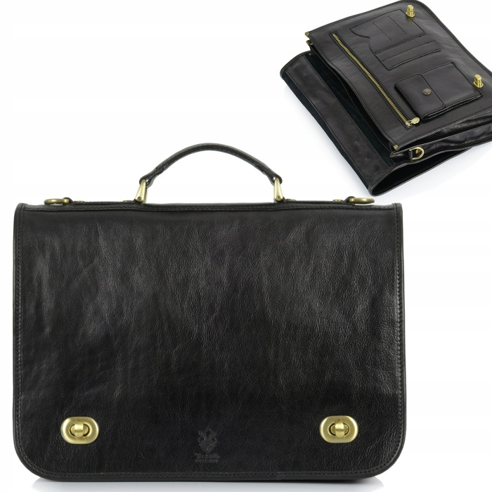 Čierna kožená aktovka veľká retro obchodná taška