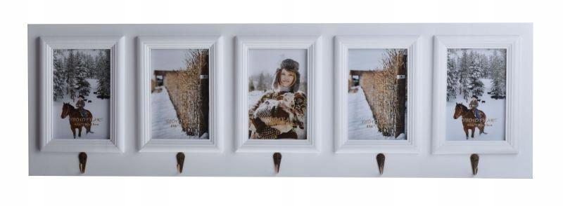 Vešiak s fotorámčekmi, biely, 64 cm