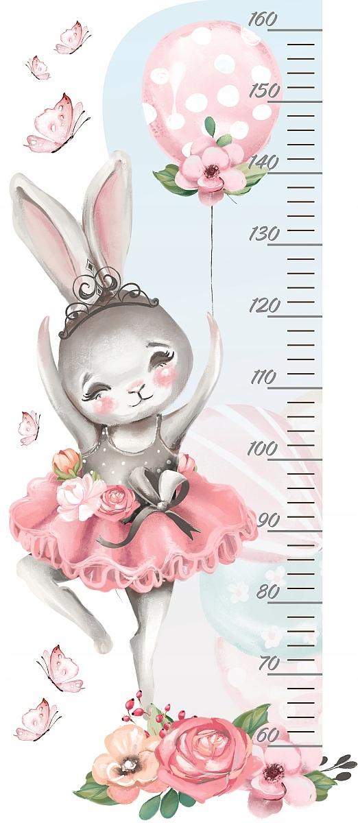 MIARKA WZROSTU naklejka na ścianę króliczek balon