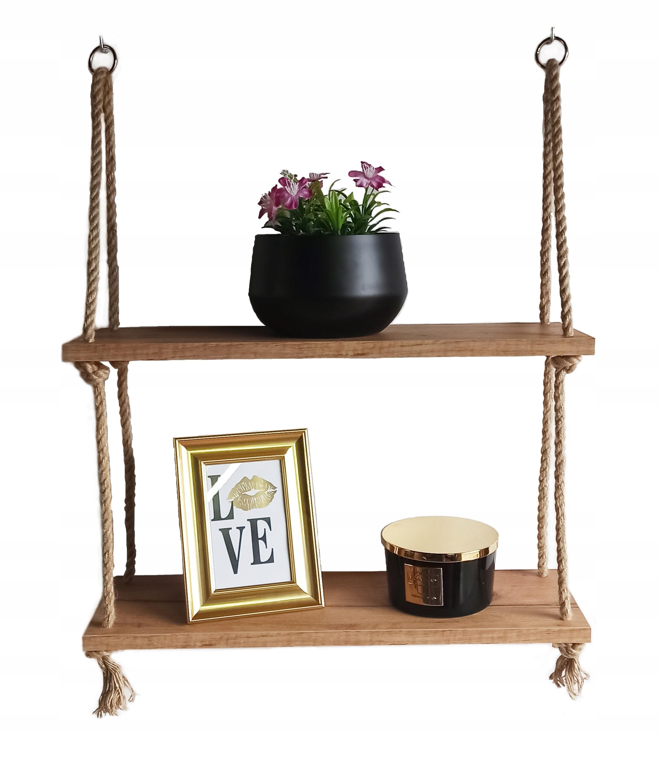 Wisząca półka na linach loft (Dąb Craft Złoty)