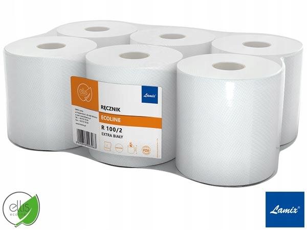 Бумажные полотенца в рулонах белые длина 100м 6sztuk
