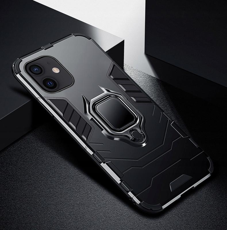 Etui do iPhone 12 Mini Pancerne Ring Case + Szkło Kolor czarny