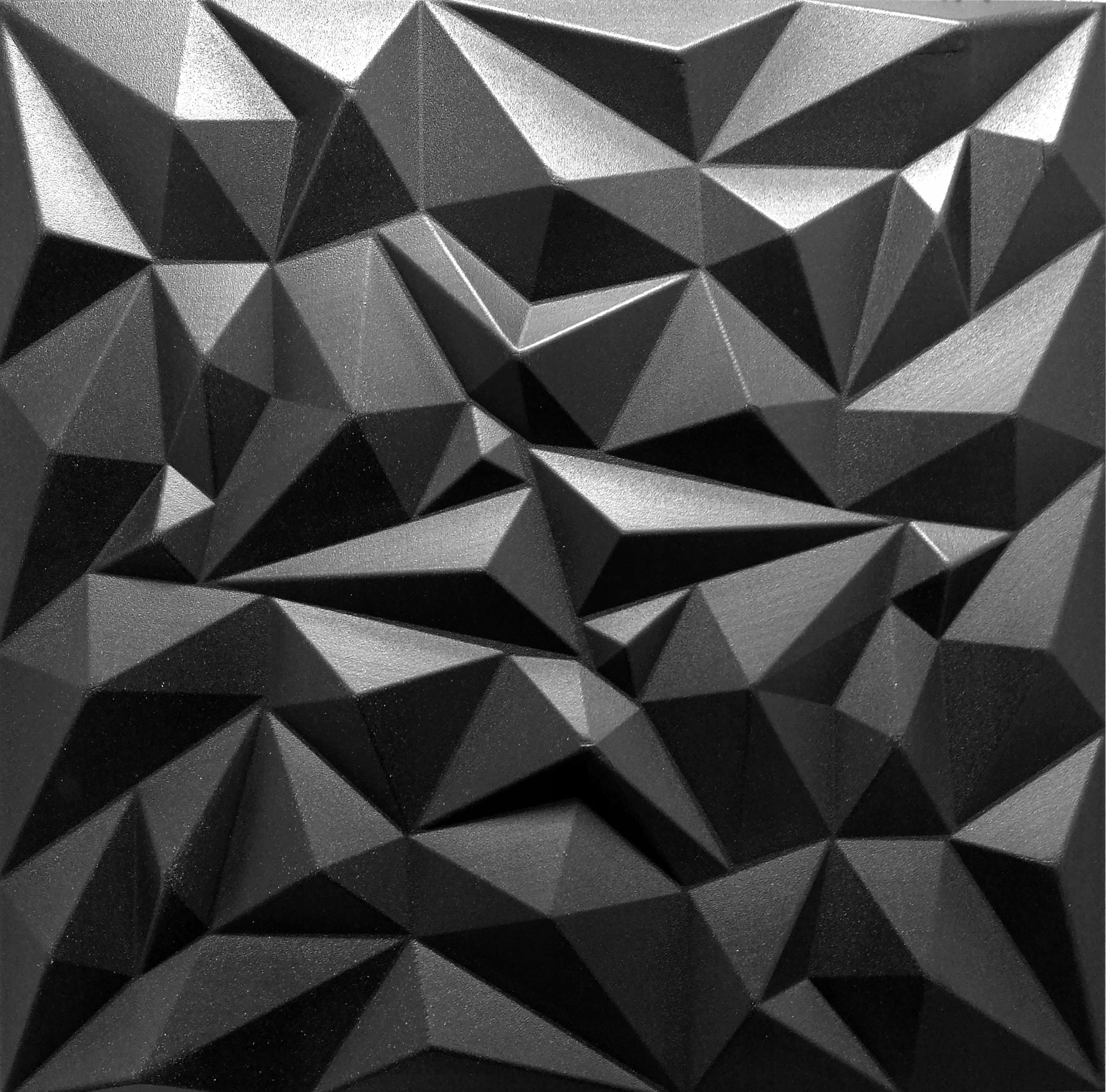 Czarne Ścienne Kasetony Geometryczne 3D Ametyst