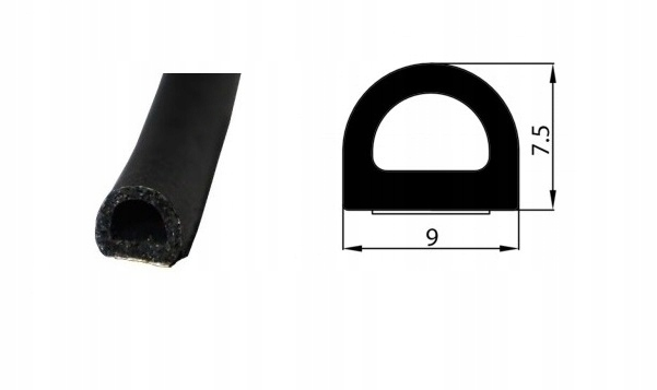 USZCZELKA GUMOWA SAMOPRZYLEPNA Z KLEJEM D 9X7,5mm Kolor inny kolor