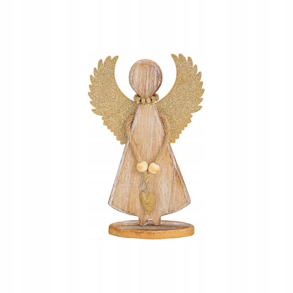Деревянный ангел ЗОЛОТОЕ СЕРДЦЕ 20см МАНГО