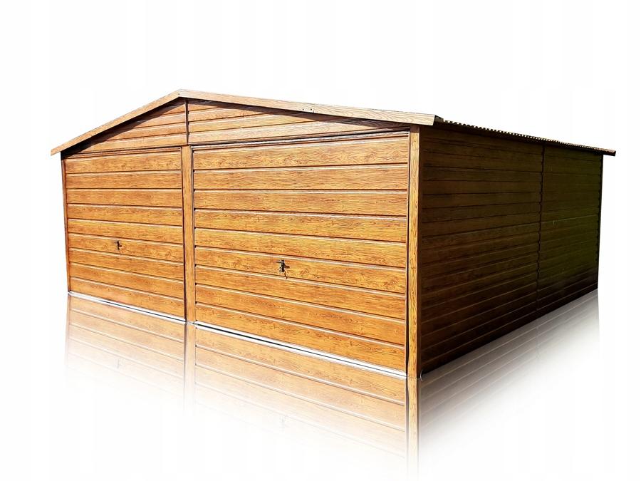 Garaż blaszany 2 stanowiska blaszak drewnopodobny