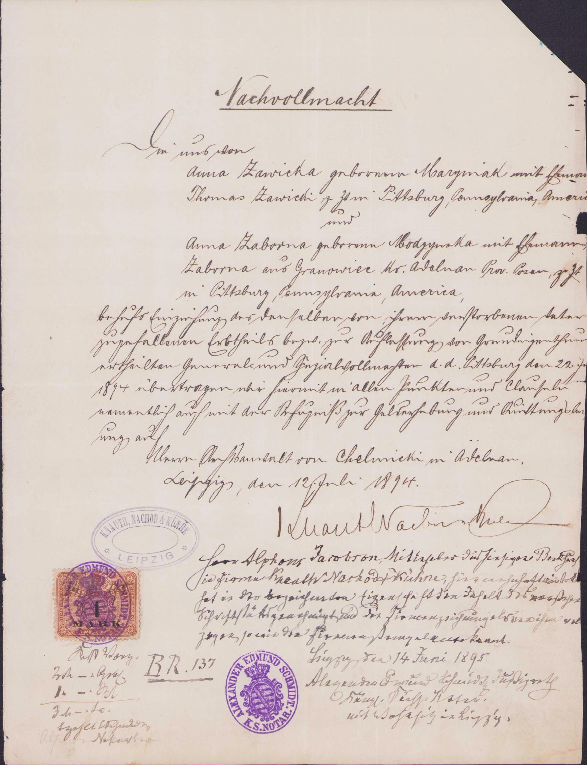 Анна Заборна Грановец - А. Шмидт Лейпциг 1894