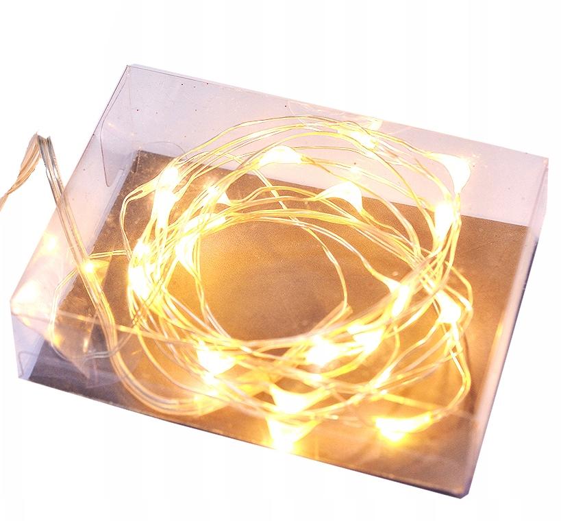 LAMPKI DRUCIKI 20 LED NA BATERIE BIAŁE CIEPŁE