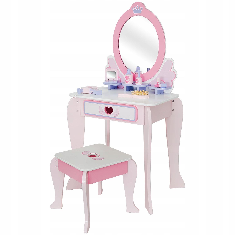 Деревянный туалетный столик для девочки ЗЕРКАЛО + 6 аксессуаров