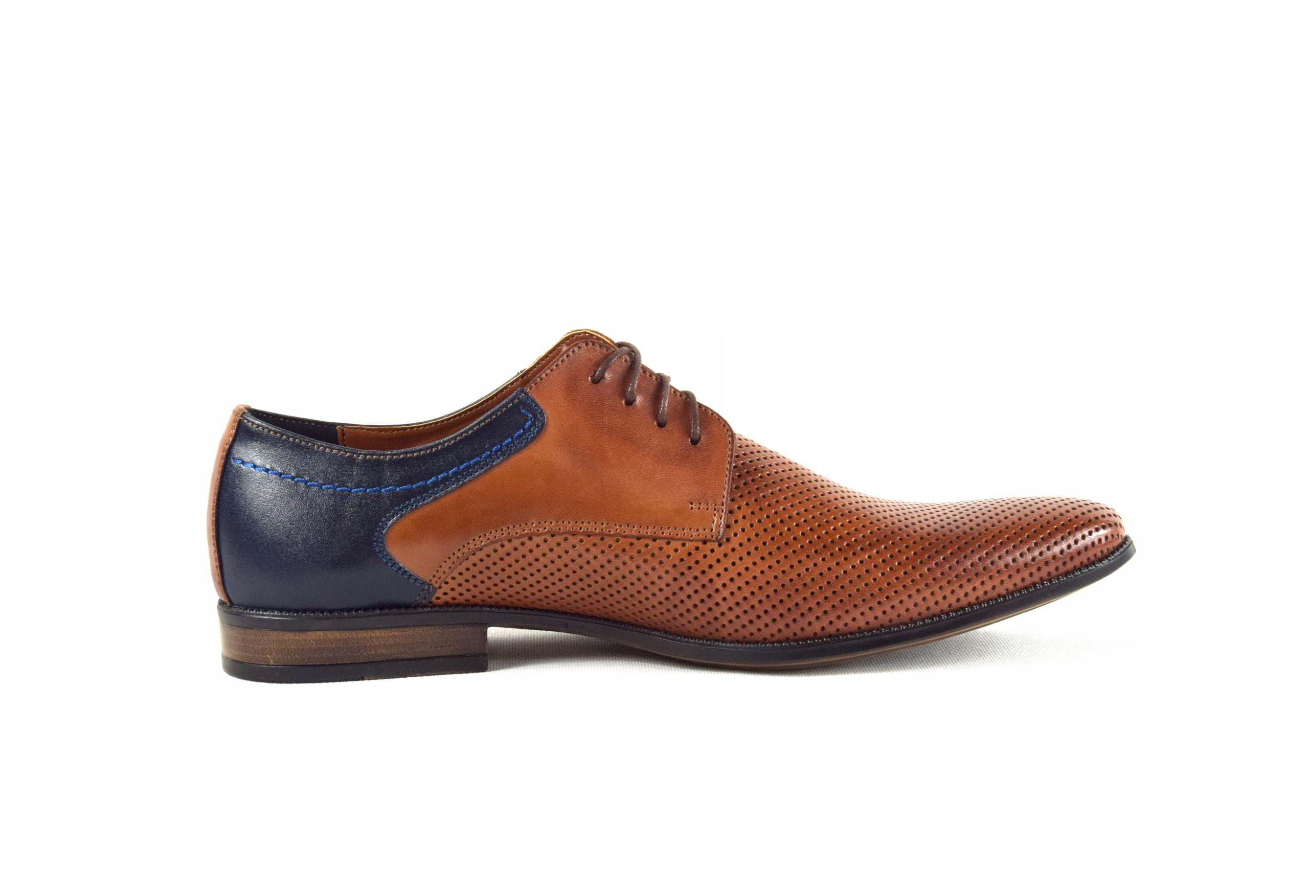 Buty męskie wizytowe skórzane brązowe obuwie 322 Długość wkładki 29.5 cm
