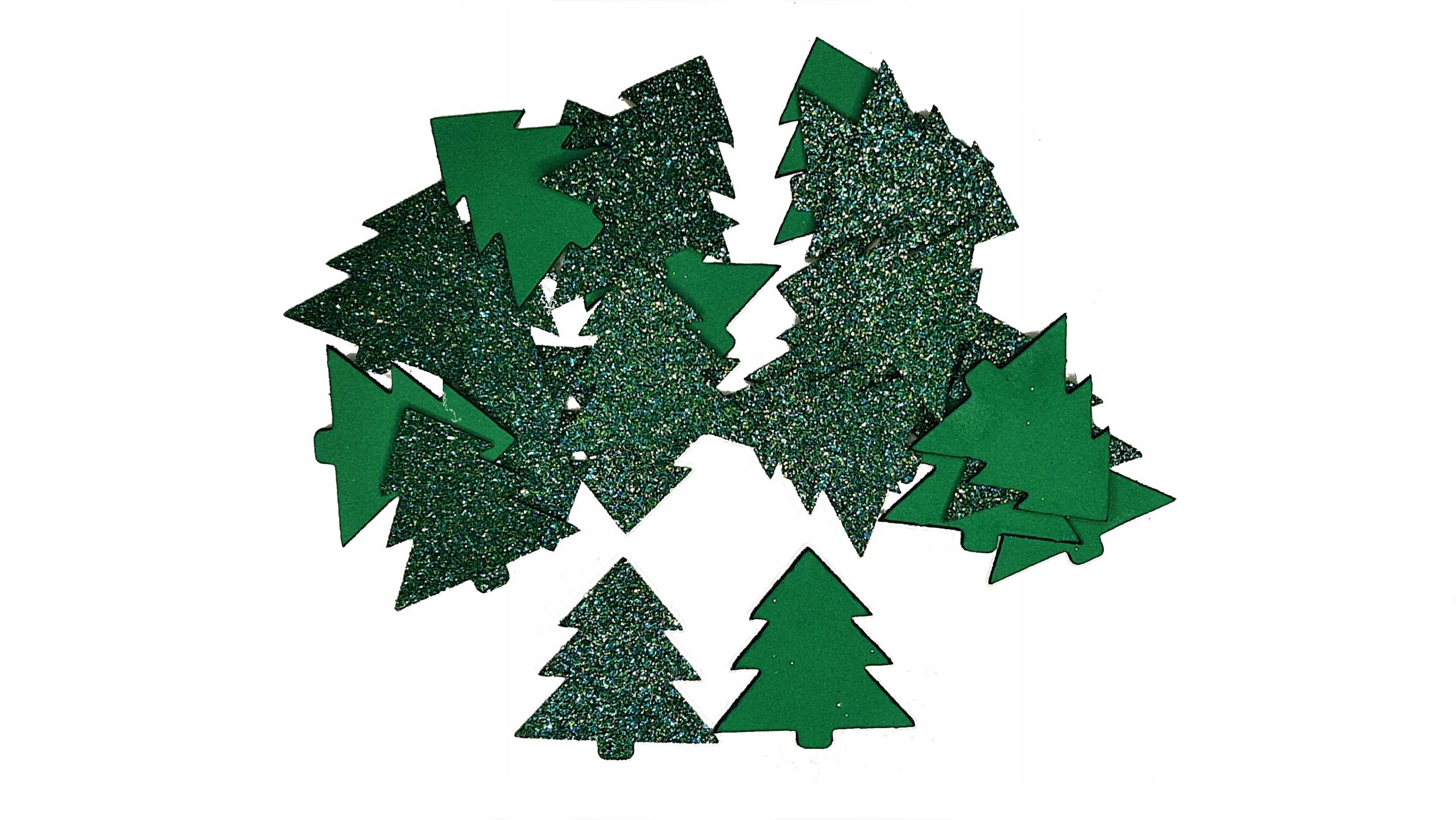 Орнамент из блестящей пены, зеленые елки, 20 шт.