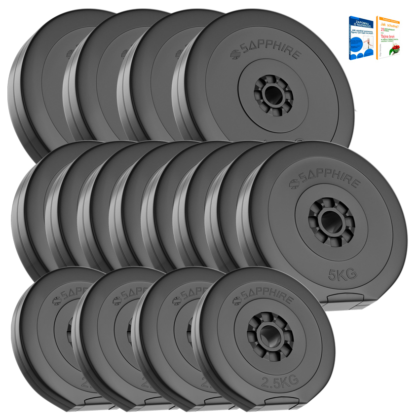 OBCIĄŻENIE 90KG zestaw (4x2,5+8x5+4x10kg) talerze