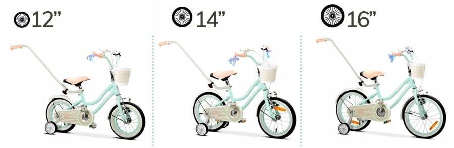 """Rowerek dla dzieci 16"""" Heart bike miętowy bmx Wyposażenie Dzwonek Kółka boczne Koszyk Prowadnik Błotniki Osłona łańcucha"""