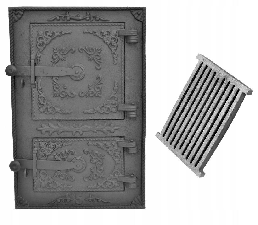 liatinové dvere ohniska fajčiarskej pece 44X29cm