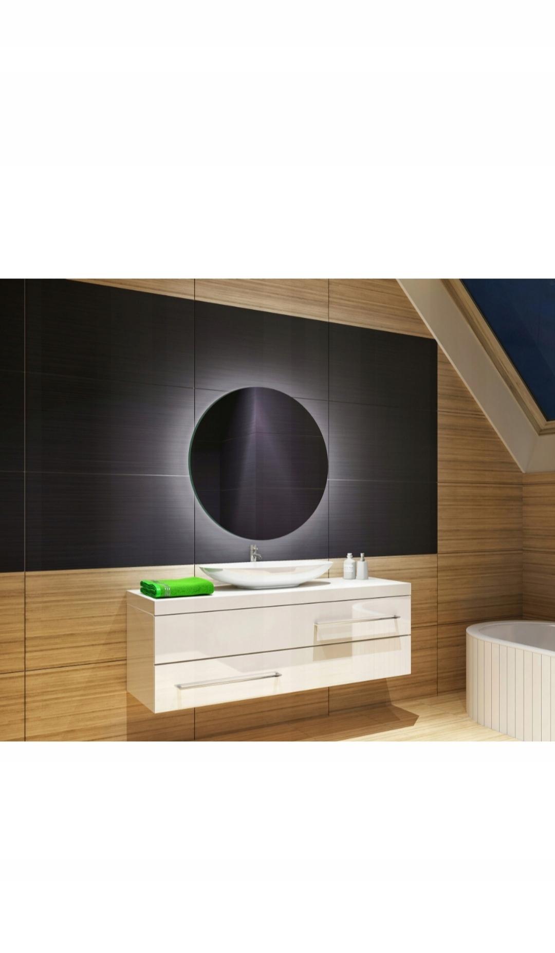 LED zrkadlo 60x60 okrúhle, dotyk studenej bielej farby