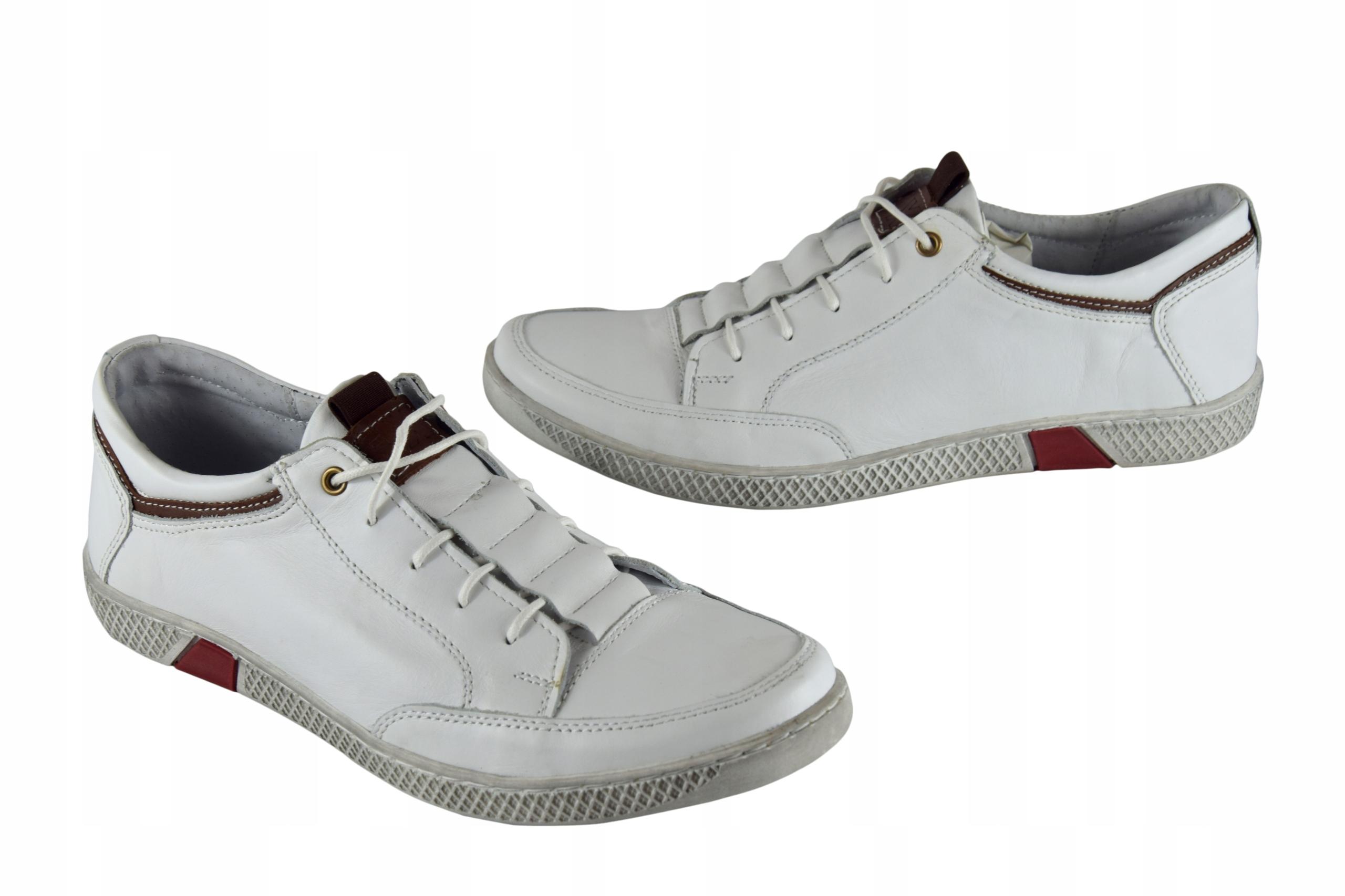 Białe buty skórzane sznurowane półbuty męskie 0448 Rozmiar 41