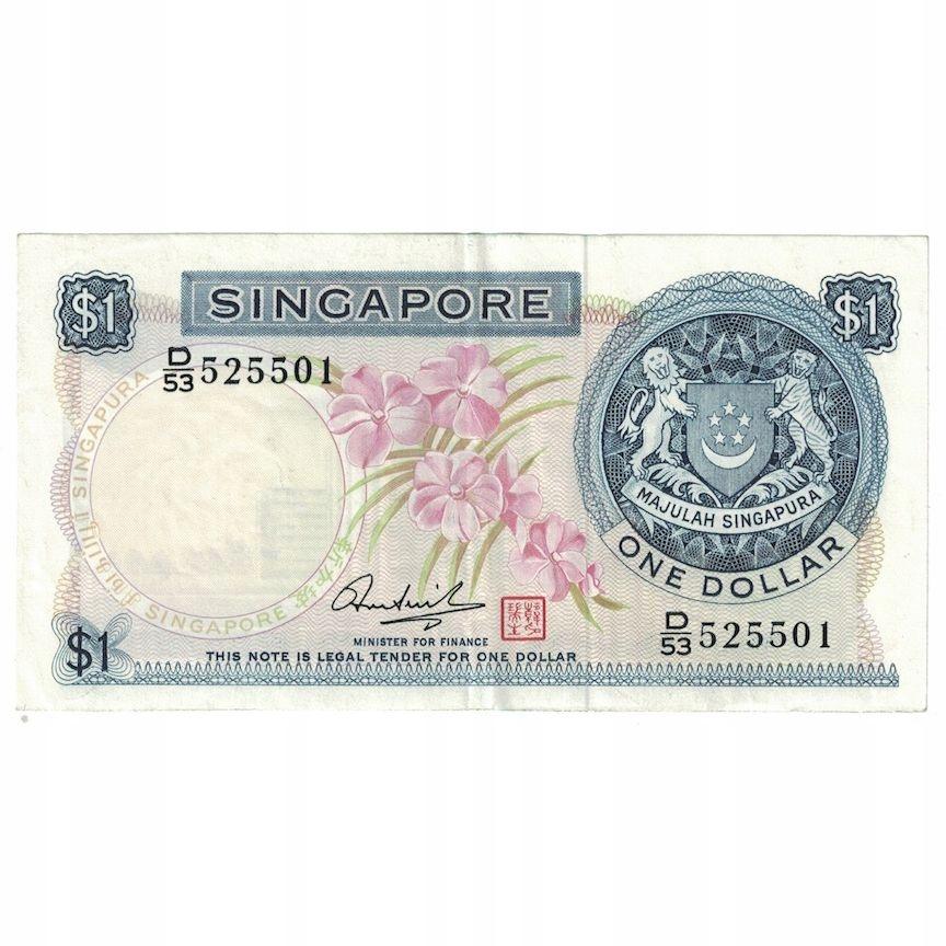 Банк Оф, Сингапур, 1 доллар, без даты (1967-72), км