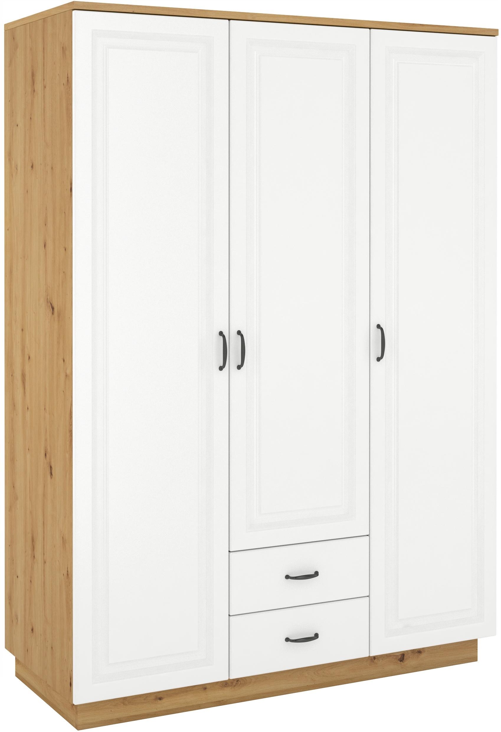 3-dverová skriňa 180cm, biely remeselnícky dub frézovaný