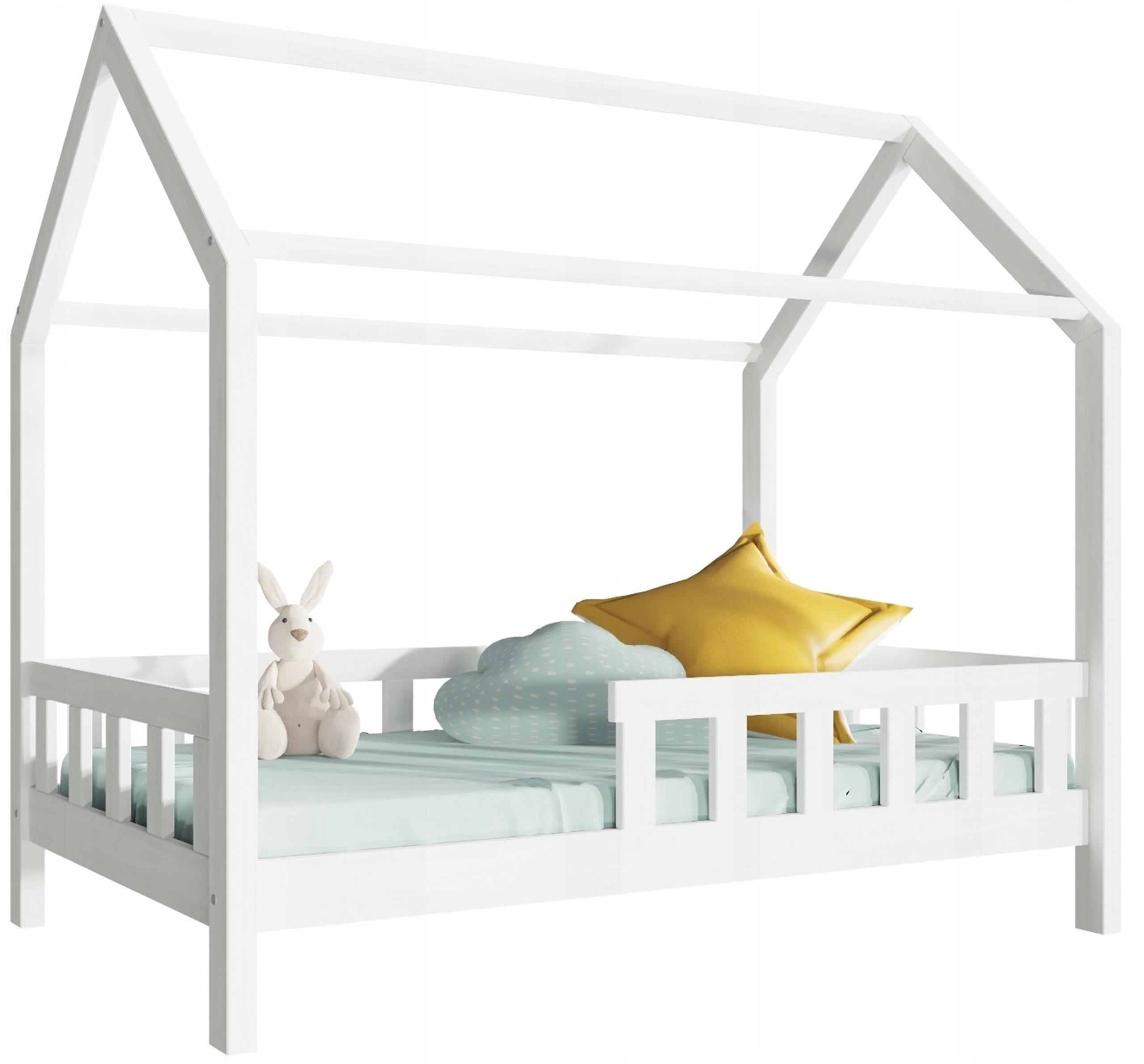 Łóżko dziecięce MITO białe domek ze stelażem