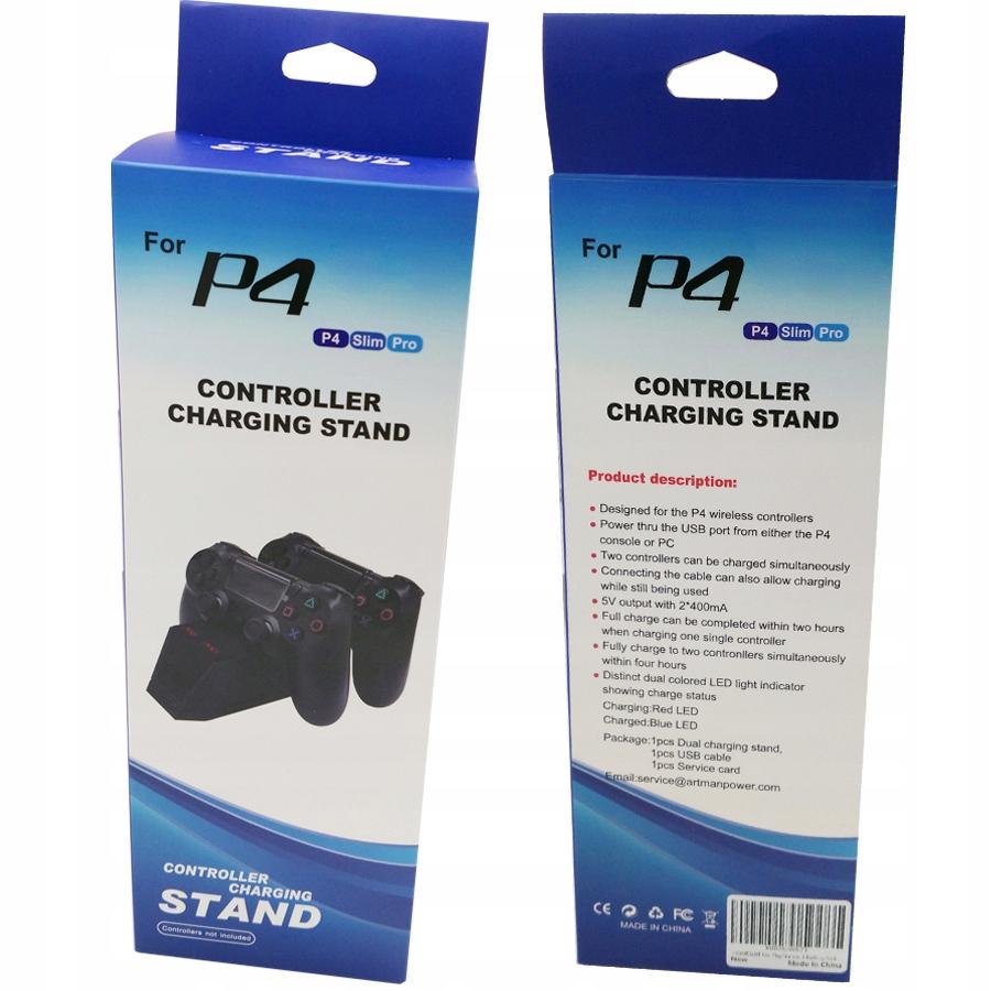 Ladestasjon Docking Station 2x PAD PS4 LED-kontroller EAN 5903678800390