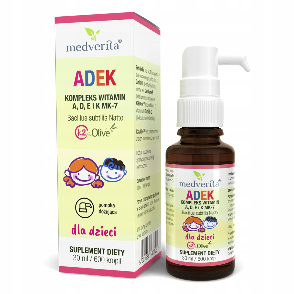 ADEK krople dla dzieci - Witamina A D3 K2 MK-7 E