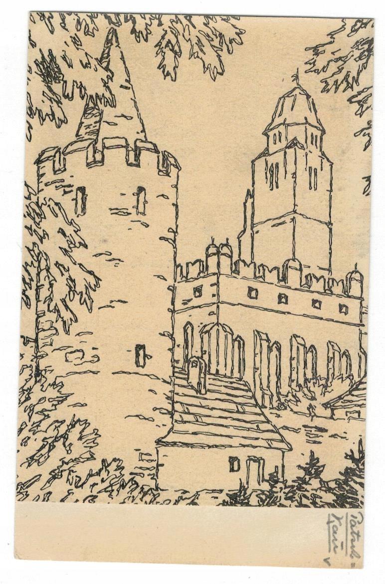 Pocztówka 1940 Paczków baszta kościół św. Jana