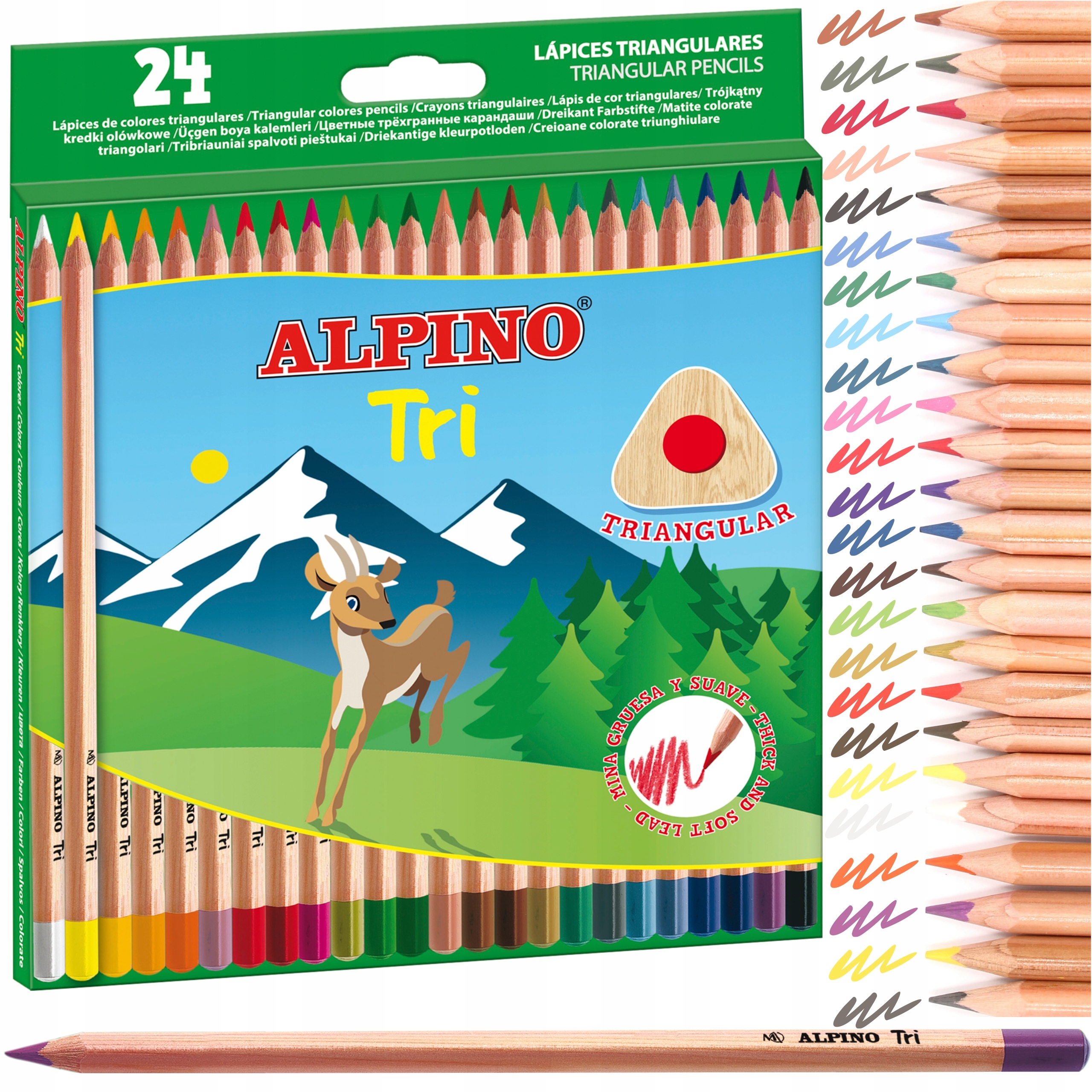 Kredki cedrowe Alpino TRI trójkątne 24 kolory