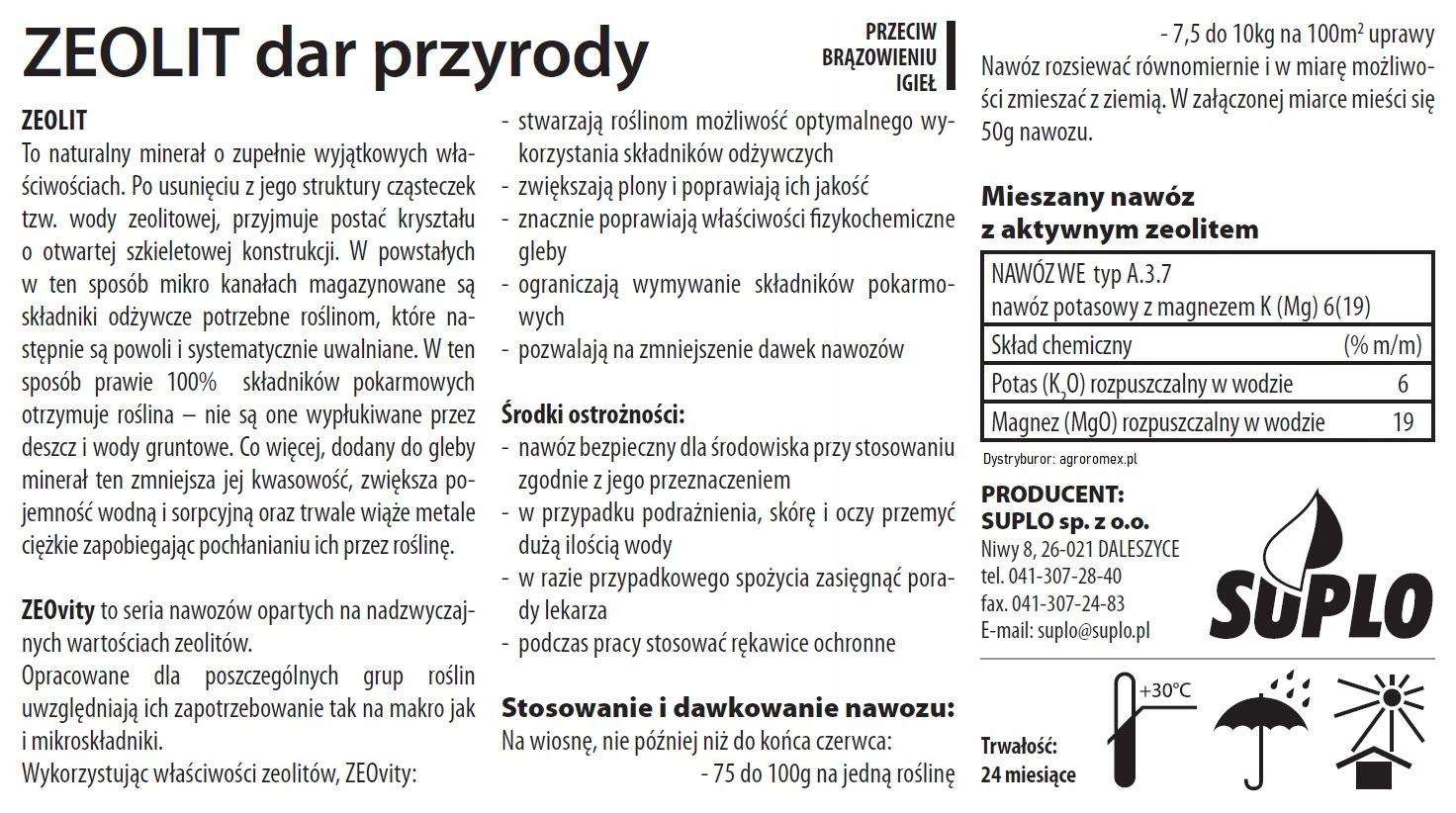 ZEOVIT nawóz przeciw brązowieniu igieł 3 kg PL Producent suplo