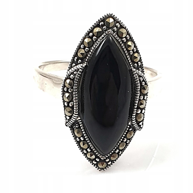 Štýlový prsteň s onyx a markasytami 22