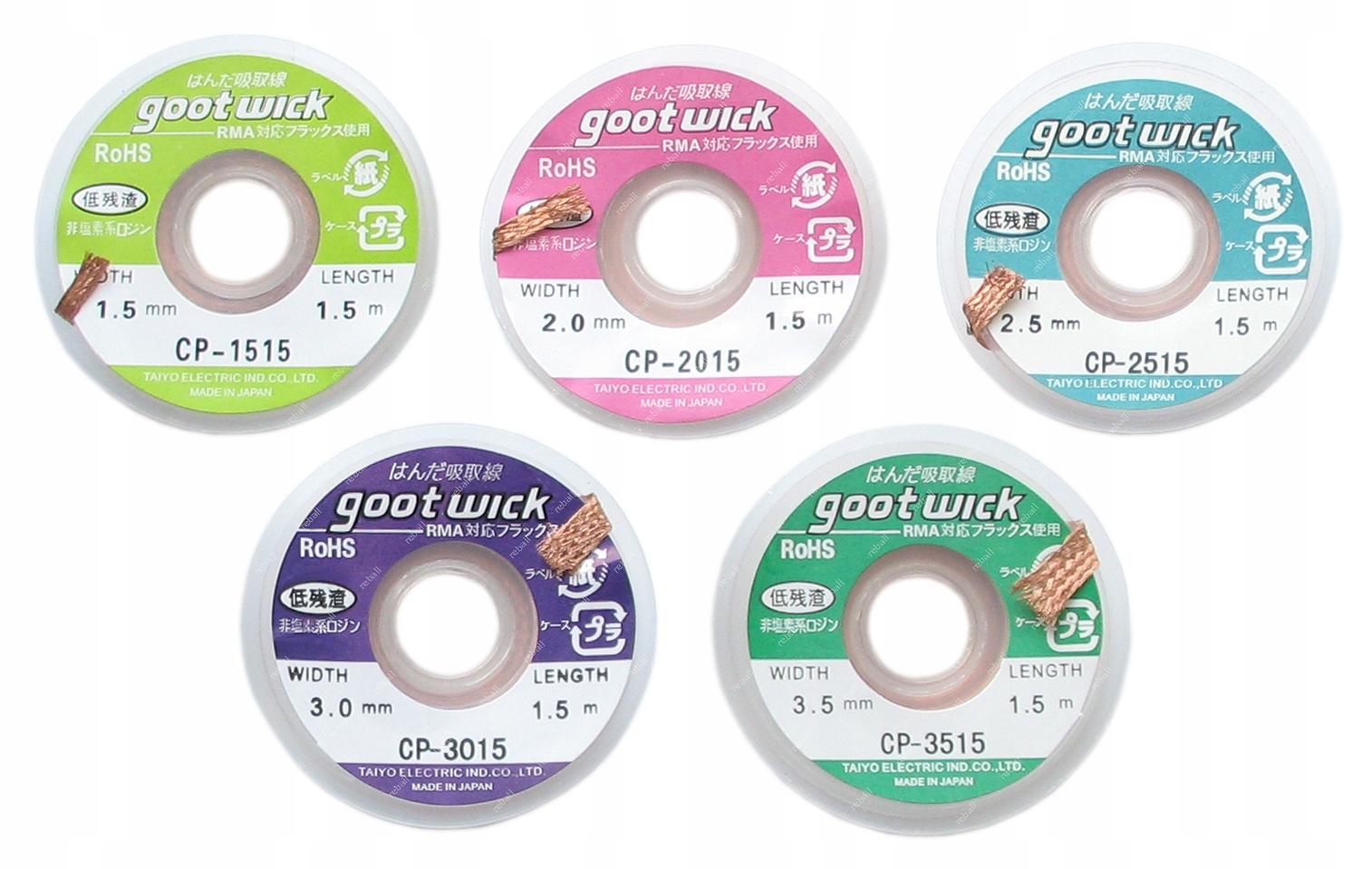 Odspájkovacia páska GOOTWICK 1,5 - 3,5 mm