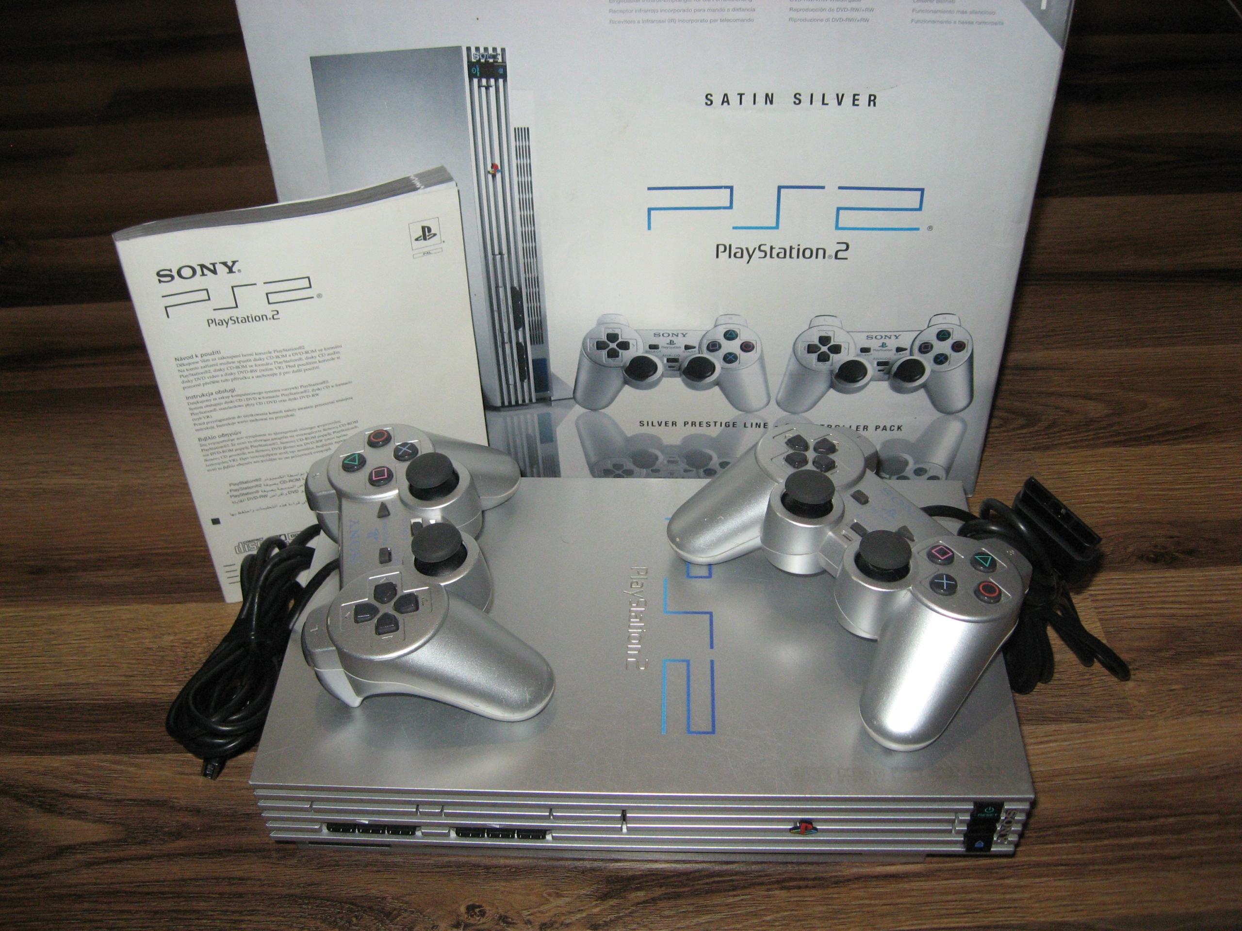 SONY PLAY STATION 2 SATIN SILVER PUDEŁKO 2 PADY!