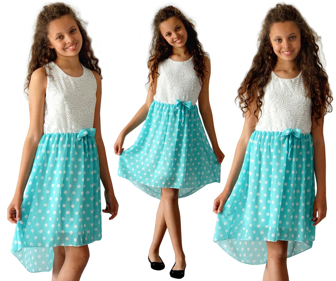 Платье кружева шифон в горошек 146/152 EE571