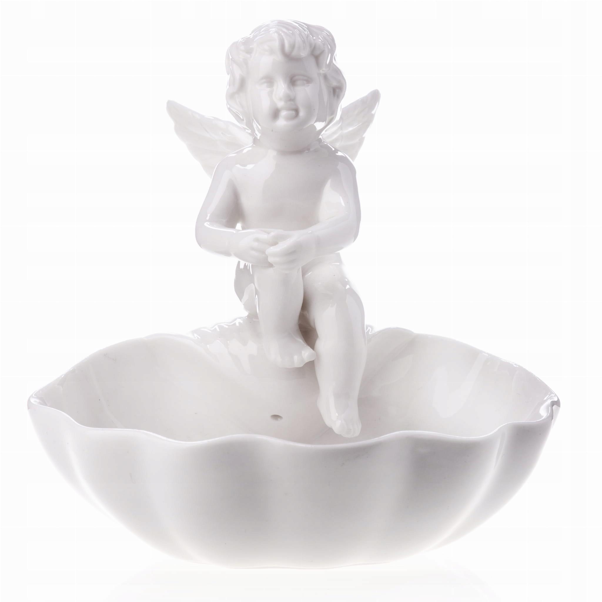 Keramická biela figúrka Retro Angel