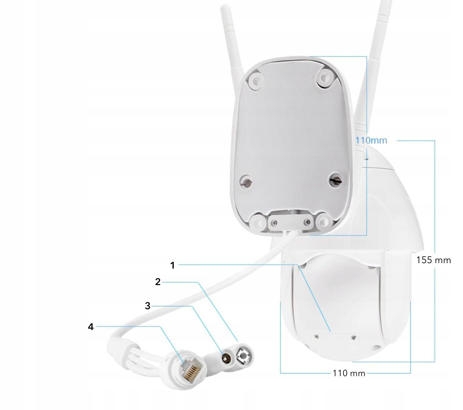 Obrotowa kamera zewnętrzna IP WiFi - 2Mpx + Audio Waga produktu z opakowaniem jednostkowym 1.2 kg