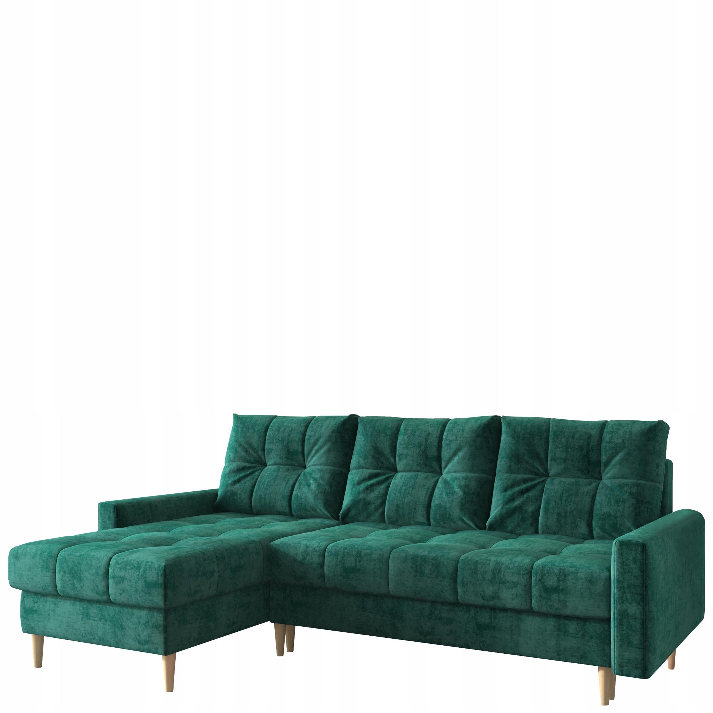 Скандинавский угловой диван-кровать зеленый