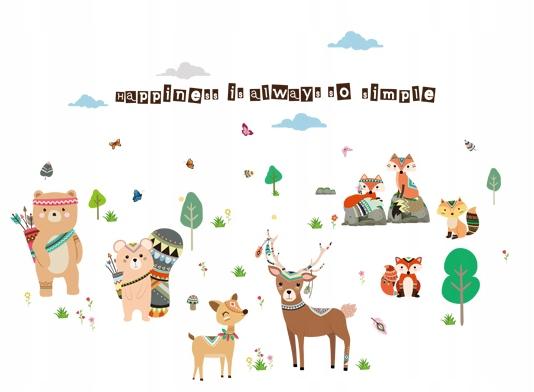 Наклейка на стену FOREST ANIMALS fox roe deer forest