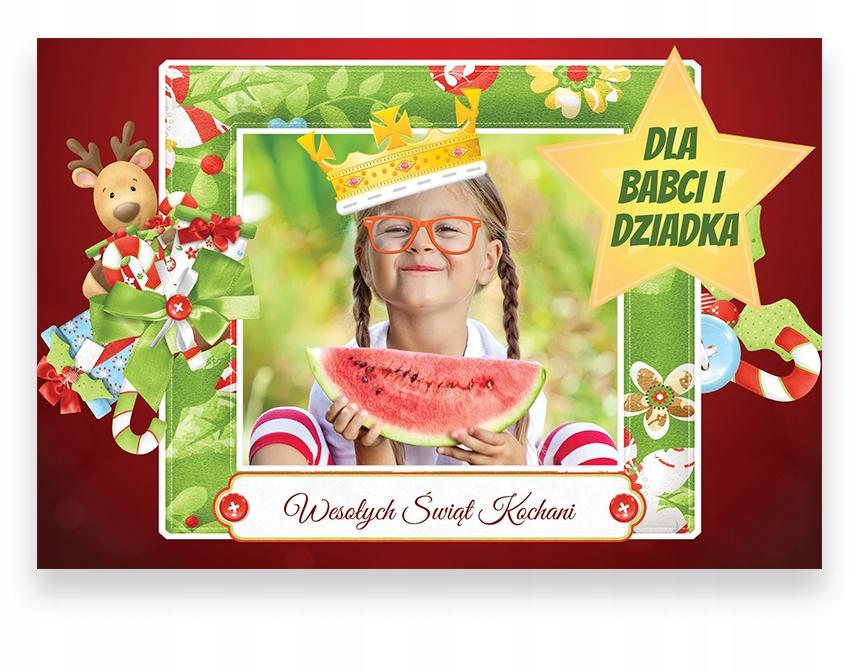KARTKI ŚWIĄTECZNE ze zdjęciem MAGNES foto 15x10 A6