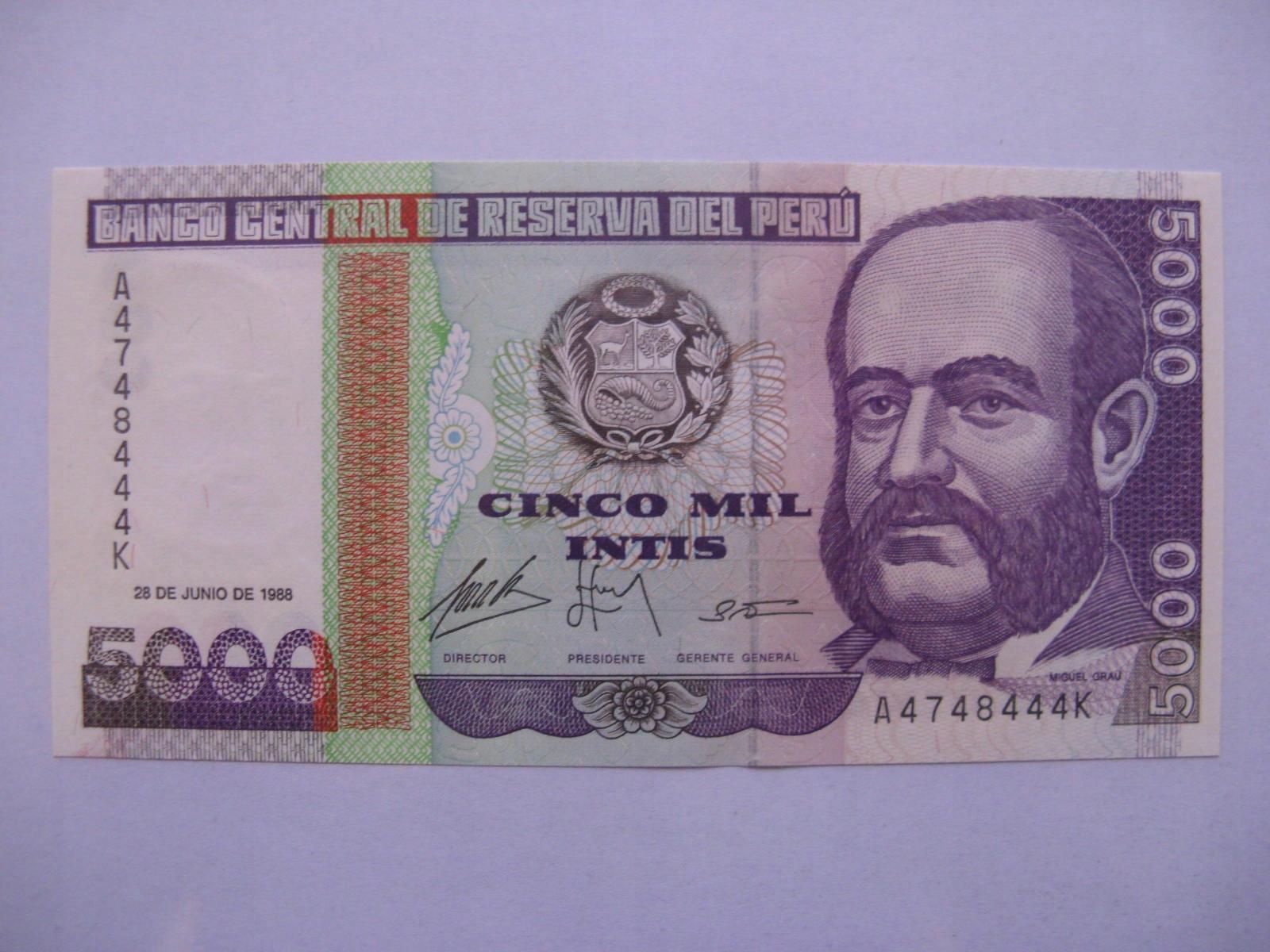 Peru - 5000 Intis - 1988 - P138 - St.1
