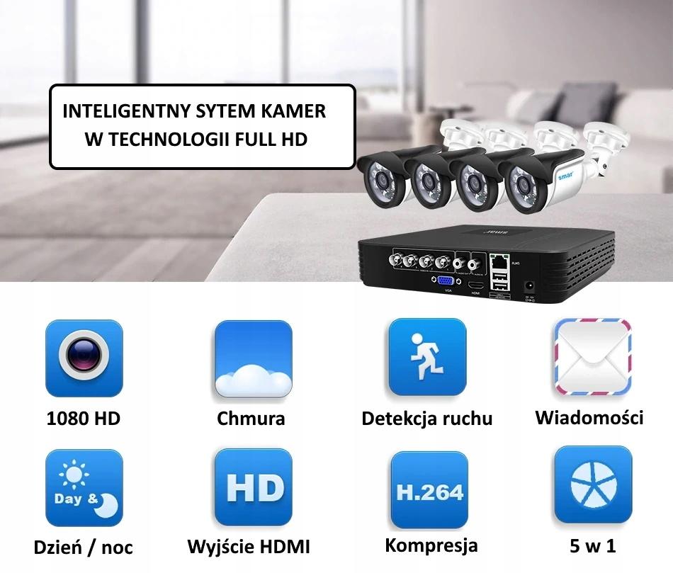 Zestaw monitoringu CCTV 4x FullHD SMAR + Dysk Marka Gvision