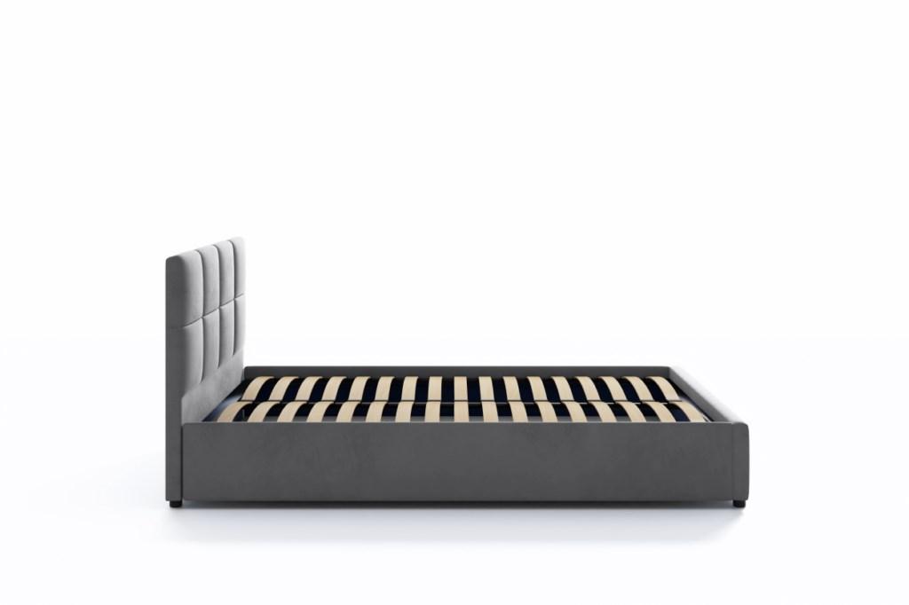 Łóżko Tapicerowane Popiel Welurowe Stelaż 160x200 Typ łóżka z zagłówkiem ze stelażem pojemnik na pościel otwierany do góry