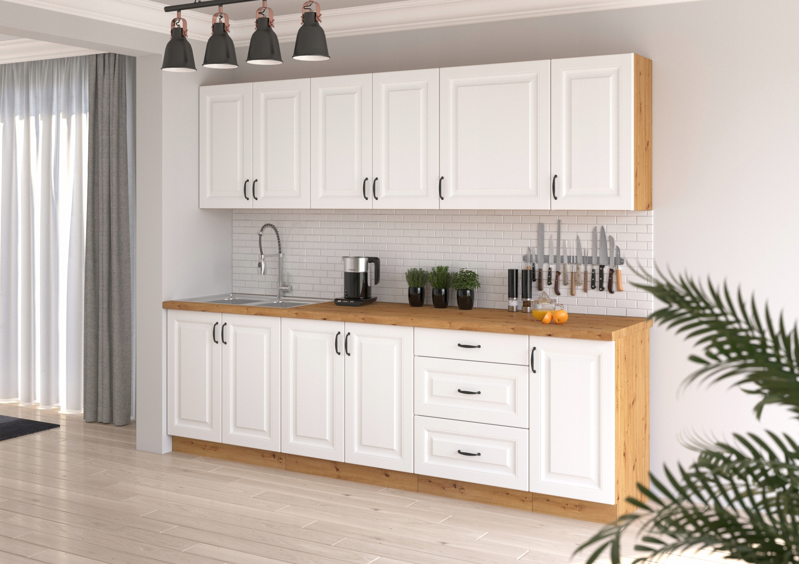 zostava kuchynského nábytku RETRO 260cm BIELY MAT