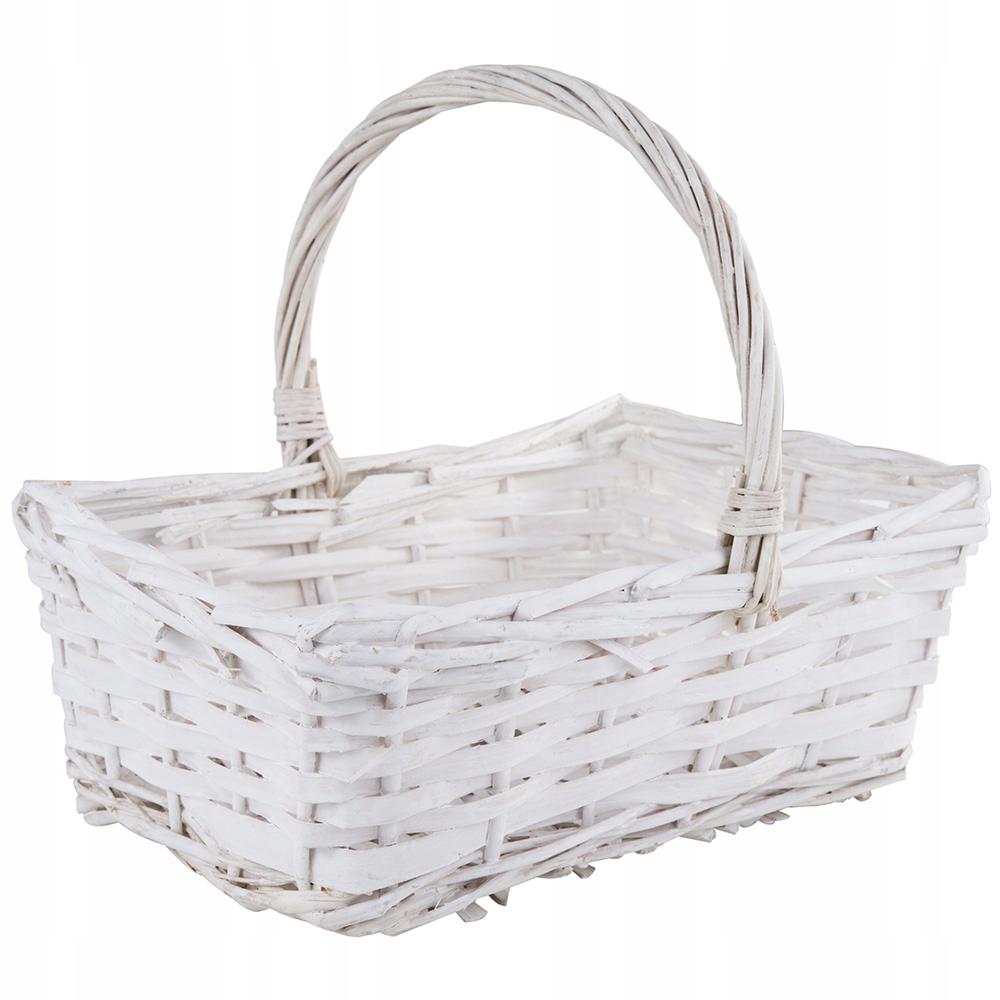 Koszyczek Wielkanocny Biały Duży Koszyk Wiklinowy