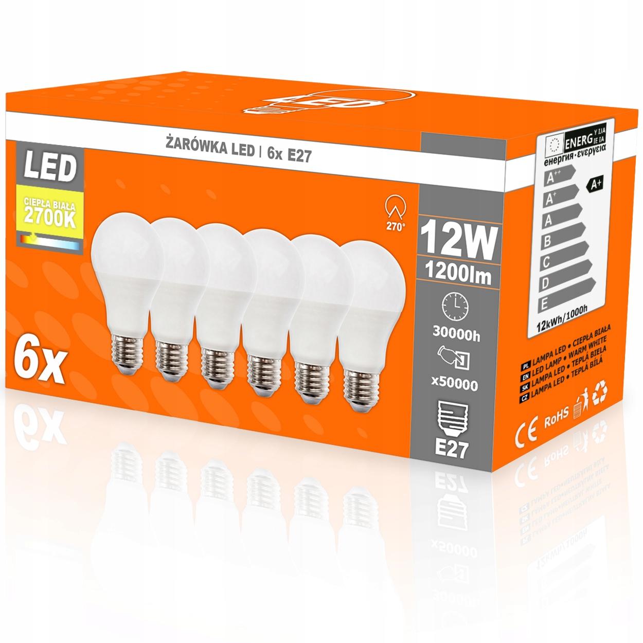 Купить 6x светодиодная лампа E27 A60 12W = 90W 1200LM 2700K 270D на Otpravka - цены и фото - доставка из Польши и стран Европы в Украину.